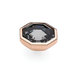 QUDO INTERCHANGEABLE OTTO LARGE TOP 16MM - SILVER NIGHT SWAROVSKI® CRYSTAL - ROSE GOLD PLATED