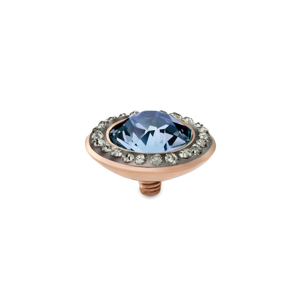 QUDO INTERCHANGEABLE TONDO DELUXE TOP 13MM - LIGHT SAPPHIRE EUROPEAN CRYSTAL - ROSE GOLD PLATED