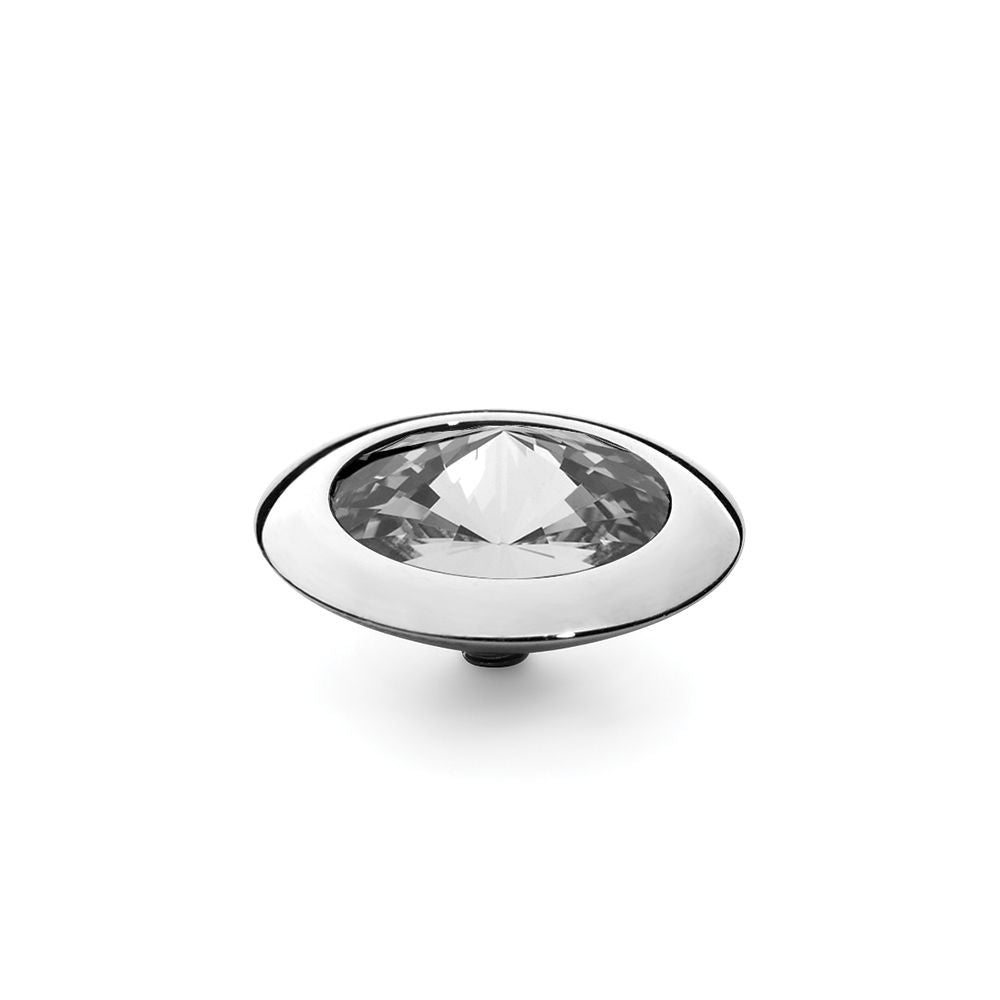 QUDO INTERCHANGEABLE TONDO TOP 16MM - EUROPEAN CRYSTAL - STAINLESS STEEL