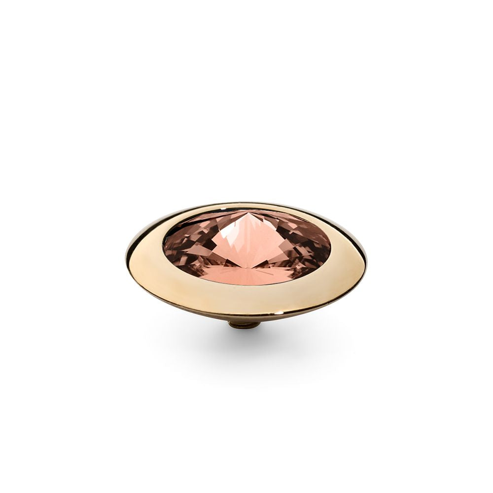 QUDO INTERCHANGEABLE TONDO TOP 16MM - BLUSH ROSE SWAROVSKI® CRYSTAL - GOLD PLATED