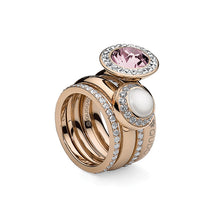 Load image into Gallery viewer, QUDO INTERCHANGEABLE TONDO DELUXE TOP 10MM - WHITE SWAROVSKI® PEARL - ROSE GOLD PLATED