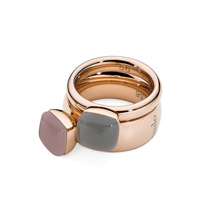 QUDO INTERCHANGEABLE ASCONA TOP 10MM - LIGHT GREY OPAL - ROSE GOLD PLATED