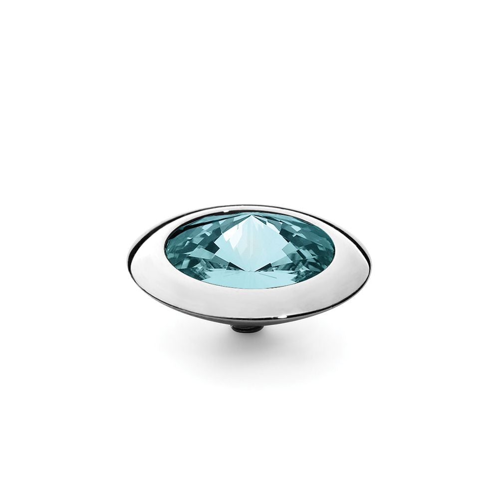 QUDO INTERCHANGEABLE TONDO TOP 16MM - LIGHT TURQUOISE SWAROVSKI® CRYSTAL - STAINLESS STEEL
