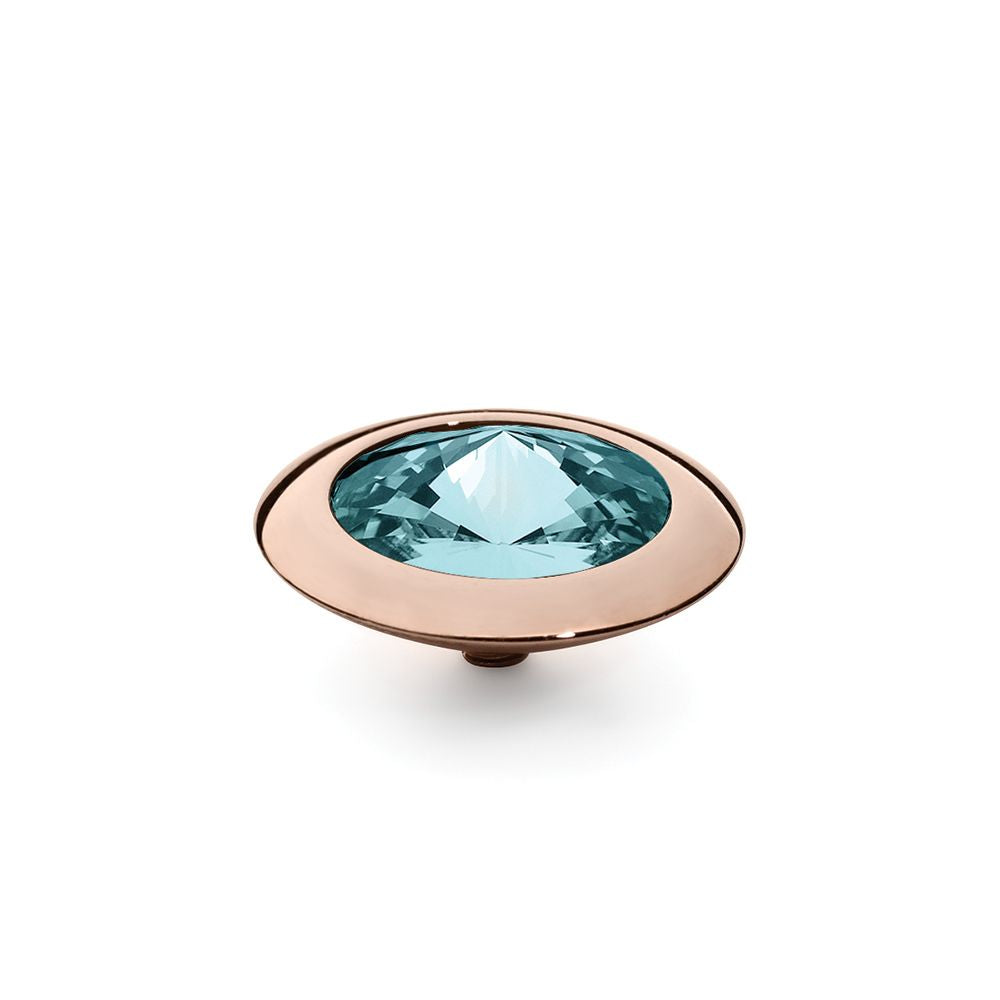 QUDO INTERCHANGEABLE TONDO TOP 16MM - LIGHT TURQUOISE SWAROVSKI® CRYSTAL - ROSE GOLD PLATED