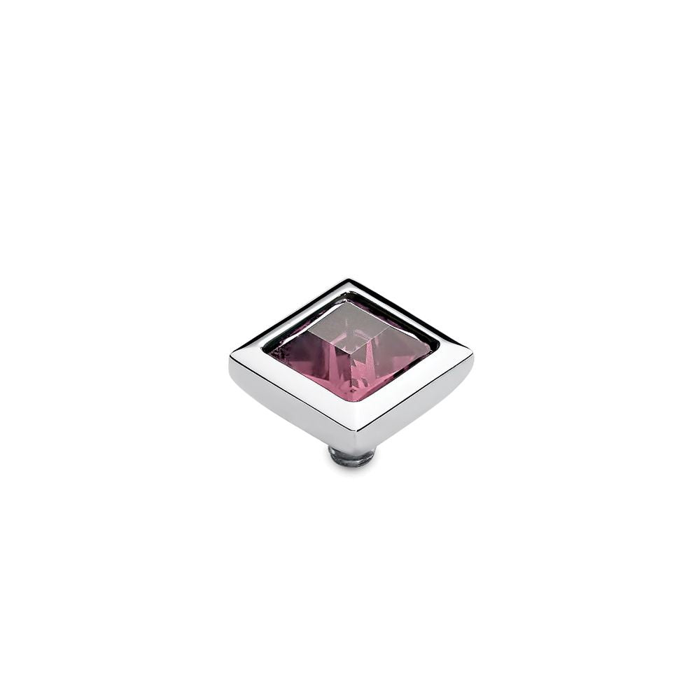 QUDO INTERCHANGEABLE QUADRA TOP 9MM - LIGHT ROSE SWAROVSKI® CRYSTAL - STAINLESS STEEL