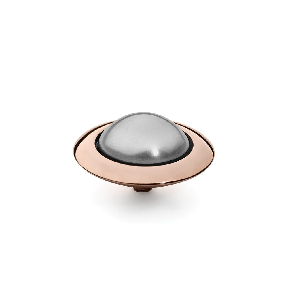 QUDO INTERCHANGEABLE TONDO TOP 16MM - LIGHT GREY SWAROVSKI® PEARL - ROSE GOLD PLATED
