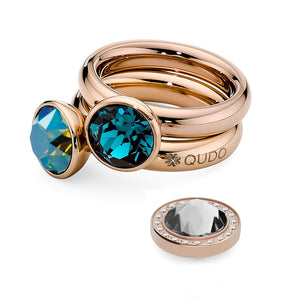 QUDO INTERCHANGEABLE BOTTONE TOP 10MM - INDICOLITE EUROPEAN CRYSTAL - ROSE GOLD PLATED
