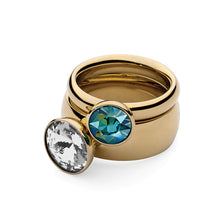 Load image into Gallery viewer, QUDO INTERCHANGEABLE BOTTONE TOP 10MM - ERINITE SHIMMER SWAROVSKI® CRYSTAL - GOLD PLATED
