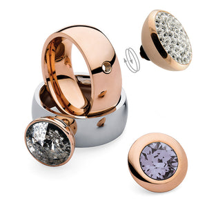 QUDO INTERCHANGEABLE BOTTONE TOP 11.5MM - BLACK PATINA EUROPEAN CRYSTAL - ROSE GOLD PLATED