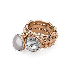 QUDO INTERCHANGEABLE BOTTONE TOP 11.5MM - GREY SWAROVSKI® PEARL - ROSE GOLD PLATED