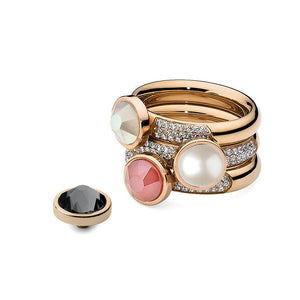 QUDO INTERCHANGEABLE BASE RING DELUXE - ROSE GOLD PLATED STAINLESS STEEL WITH CZ