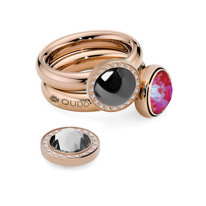 QUDO INTERCHANGEABLE CANINO DELUXE TOP 10.5MM - JET HEMATITE SWAROVSKI® PEARL - ROSE GOLD PLATED