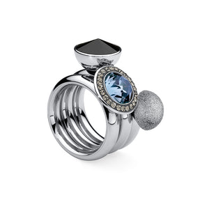 QUDO INTERCHANGEABLE TONDO DELUXE TOP 13MM - LIGHT SAPPHIRE EUROPEAN CRYSTAL - STAINLESS STEEL