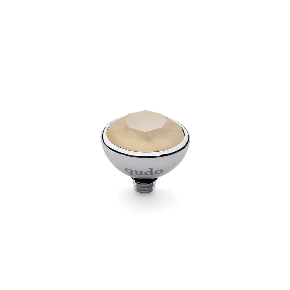 QUDO INTERCHANGEABLE BOTTONE TOP 10MM - IVORY CREAM SWAROVSKI® CRYSTAL - STAINLESS STEEL