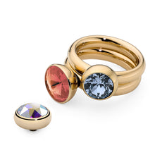 Load image into Gallery viewer, QUDO INTERCHANGEABLE BOTTONE TOP 11.5MM - PADPARADSCHA SWAROVSKI® CRYSTAL - GOLD PLATED