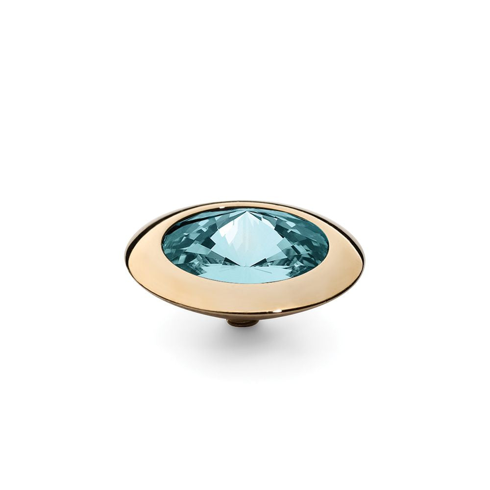 QUDO INTERCHANGEABLE TONDO TOP 16MM - LIGHT TURQUOISE SWAROVSKI® CRYSTAL - GOLD PLATED