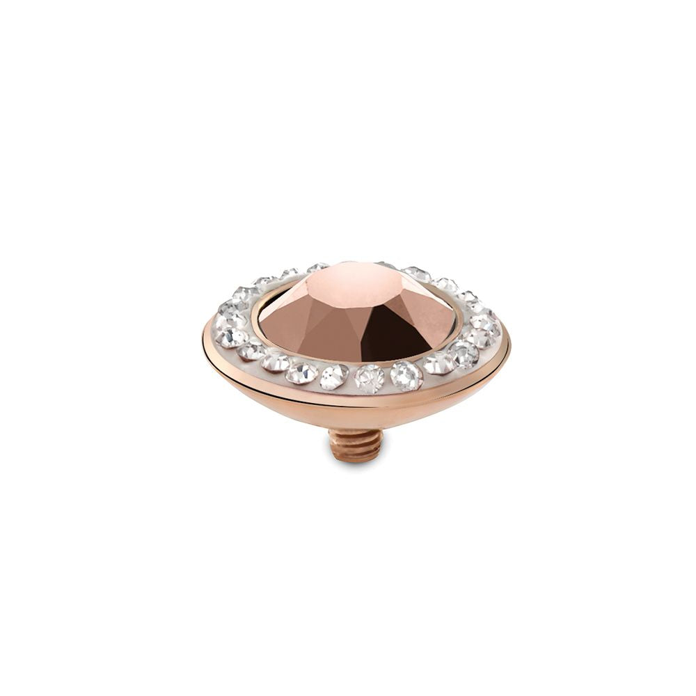 QUDO INTERCHANGEABLE TONDO DELUXE TOP 13MM - ROSE GOLD SWAROVSKI® CRYSTAL - ROSE GOLD PLATED