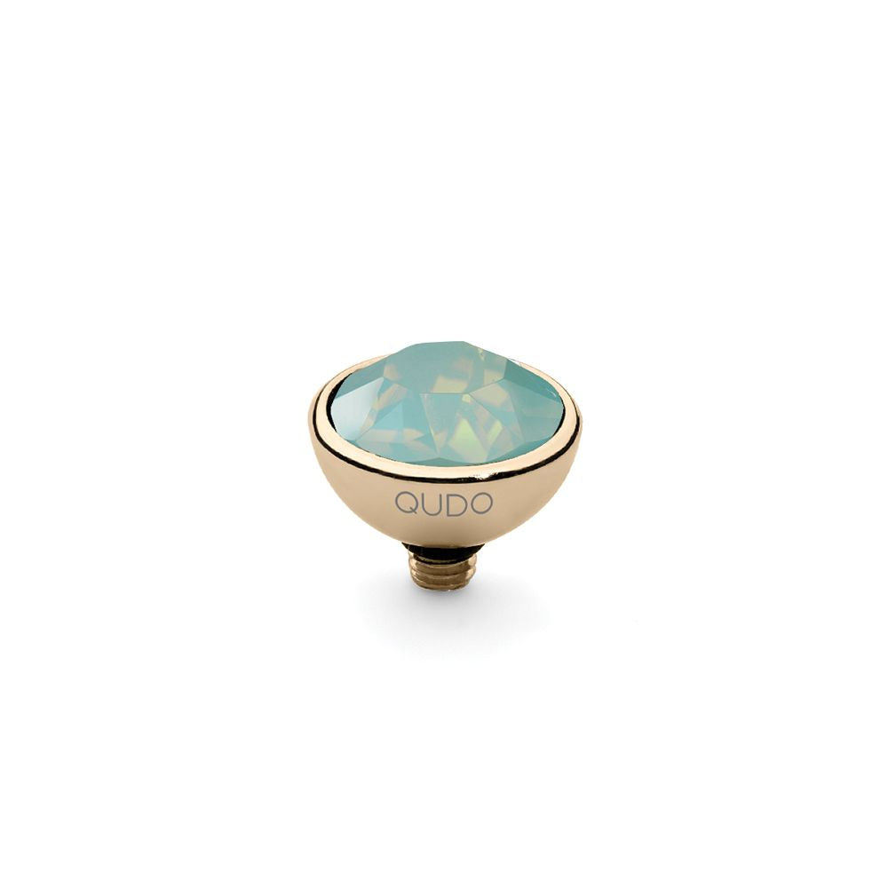 QUDO INTERCHANGEABLE BOTTONE TOP 10MM - PACIFIC OPAL EUROPEAN CRYSTAL - GOLD PLATED