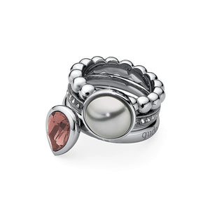 QUDO INTERCHANGEABLE BOTTONE TOP 11.5MM - GREY SWAROVSKI® PEARL - STAINLESS STEEL