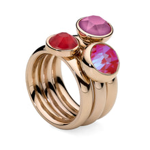 Load image into Gallery viewer, QUDO INTERCHANGEABLE CANINO TOP 9MM - ROYAL RED SWAROVSKI® CRYSTAL - ROSE GOLD PLATED
