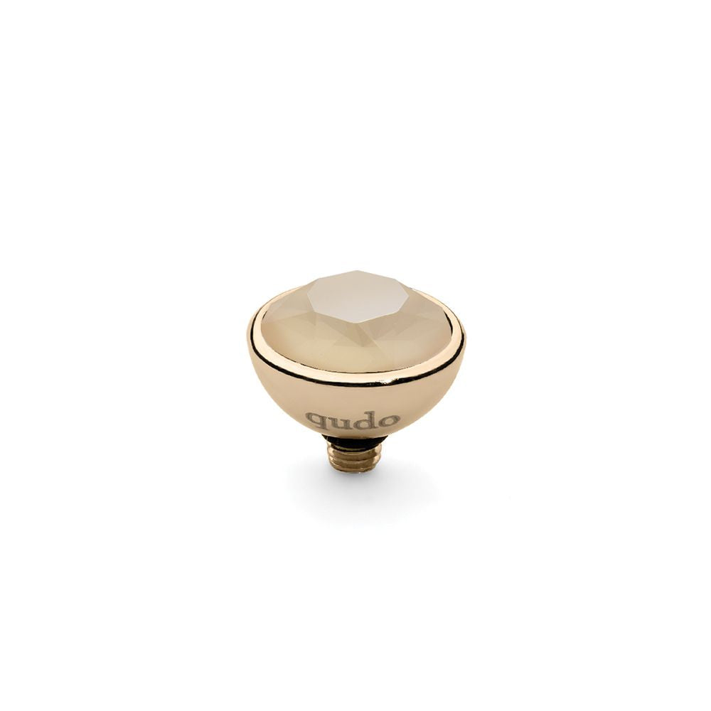 QUDO INTERCHANGEABLE BOTTONE TOP 10MM - IVORY CREAM SWAROVSKI® CRYSTAL - GOLD PLATED