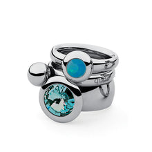 Load image into Gallery viewer, QUDO INTERCHANGEABLE TONDO TOP 16MM - LIGHT TURQUOISE SWAROVSKI® CRYSTAL - STAINLESS STEEL