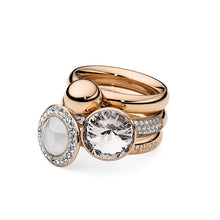 Load image into Gallery viewer, QUDO INTERCHANGEABLE BASE RING DELUXE - ROSE GOLD PLATED STAINLESS STEEL WITH CZ