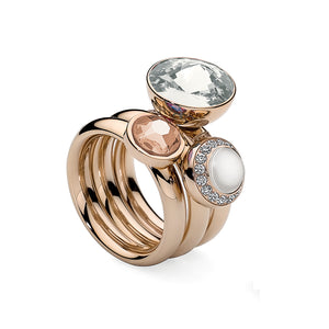 QUDO INTERCHANGEABLE TONDO DELUXE TOP 10MM - WHITE SWAROVSKI® PEARL - ROSE GOLD PLATED