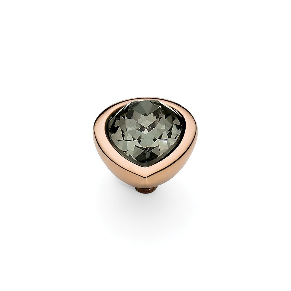 QUDO INTERCHANGEABLE GOCCIA TOP 11MM - BLACK DIAMOND EUROPEAN CRYSTAL - ROSE GOLD PLATED