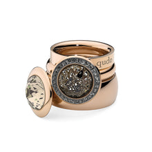 Load image into Gallery viewer, QUDO INTERCHANGEABLE TONDO TOP 13MM - LIGHT SILK SWAROVSKI® CRYSTAL - ROSE GOLD PLATED