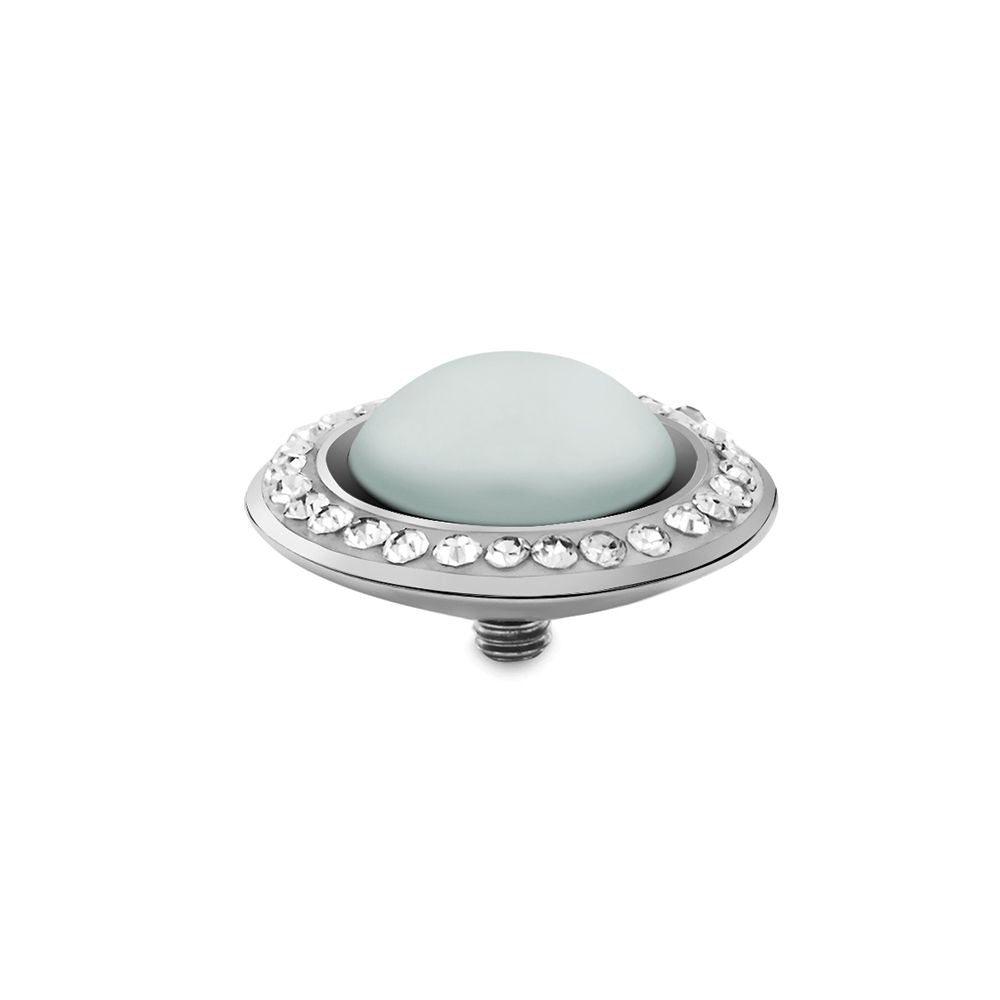 QUDO INTERCHANGEABLE TONDO DELUXE TOP 16MM - PASTEL BLUE EUROPEAN CRYSTAL PEARL - STAINLESS STEEL