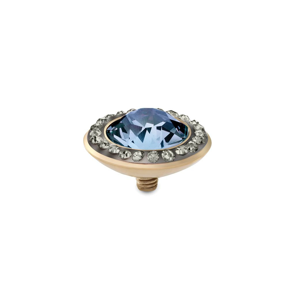 QUDO INTERCHANGEABLE TONDO DELUXE TOP 13MM - LIGHT SAPPHIRE EUROPEAN CRYSTAL - GOLD PLATED