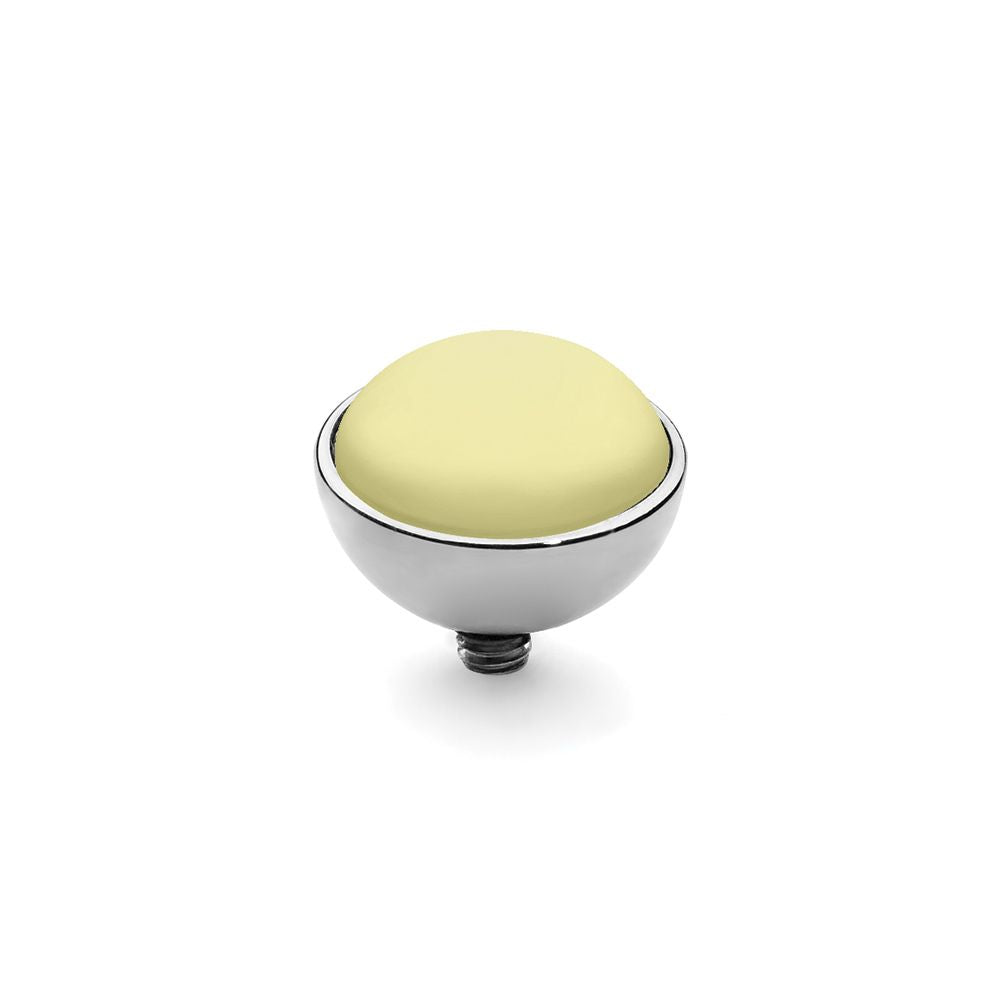 QUDO INTERCHANGEABLE BOTTONE TOP 11.5MM - PASTEL YELLOW EUROPEAN CRYSTAL PEARL - STAINLESS STEEL