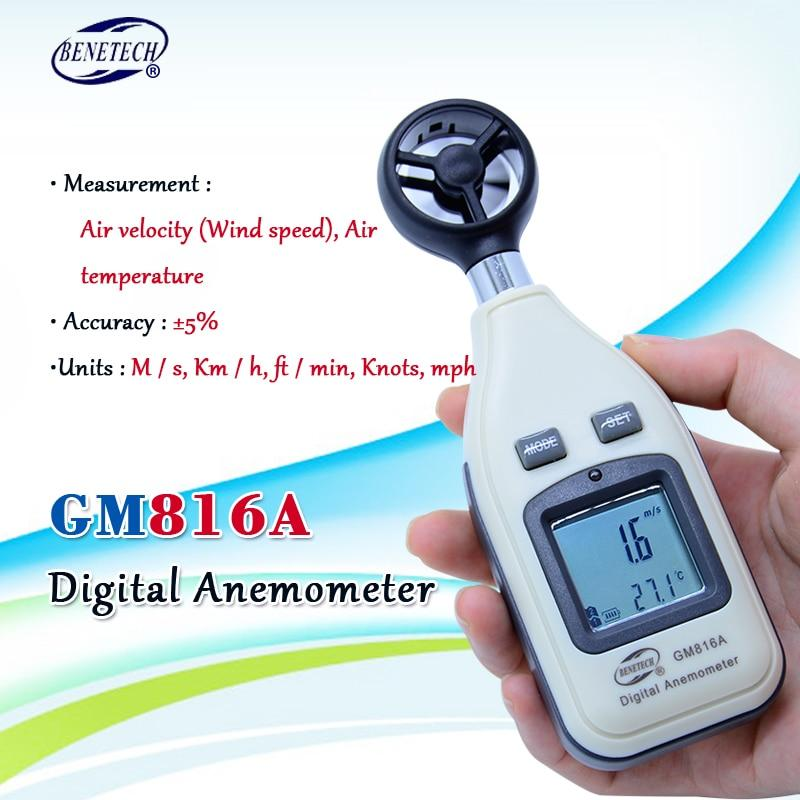 Wind Speed Meter with LCD Backlight Display Handheld Windmeter