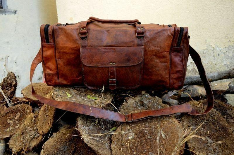 "Leather Duffle Bag Vintage Style Large Crazy Horse Leather 25"" Duffel Bag"