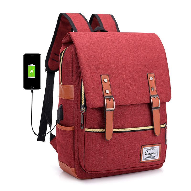 Vintage Laptop Backpack College School Bag with USB Port