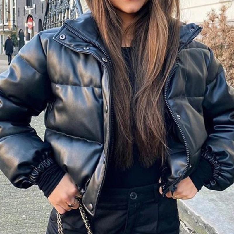 Winter Woman Leather Super Puff Jacket