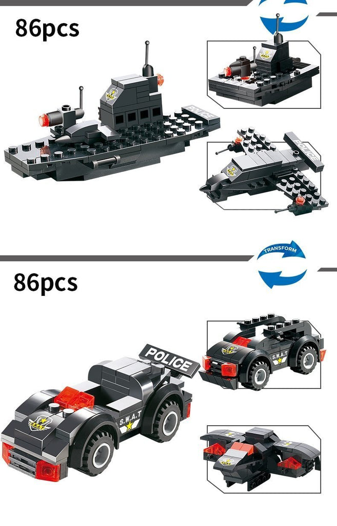 Le#go City Special Police Series SWAT 8 IN 1 with Truck Station Building Blocks