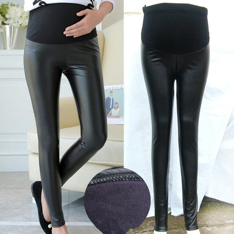 Maternity Leather Leggings - Faux Leather Maternity Leggings