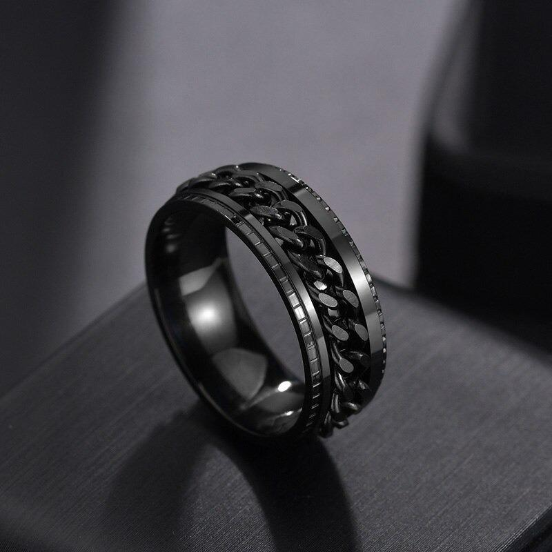 Black Ceramic Polished Beveled Edges Men's Wedding Band with Bubinga Wood Inlay - 8mm