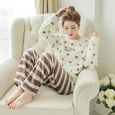 Winter Womens Flannel Pijamas Womens Home Cloth