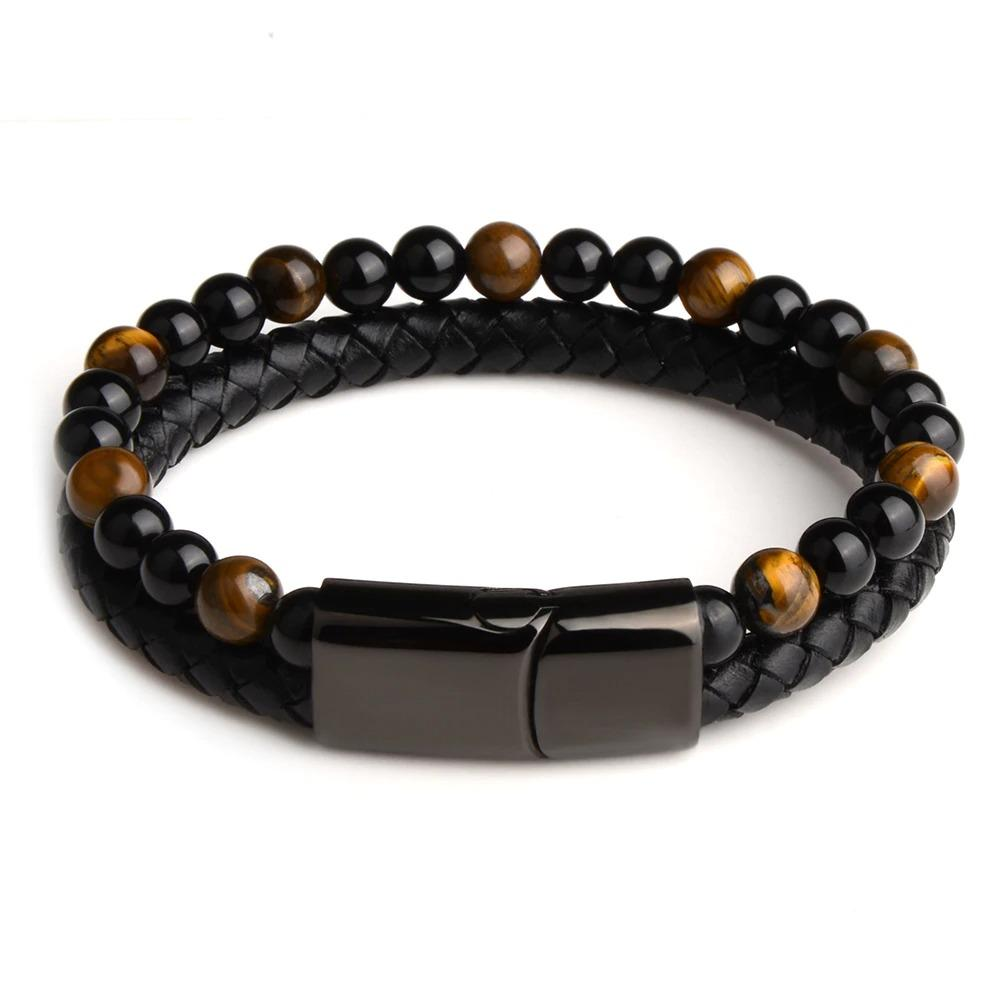 Black Onyx & Tiger Eye Men Chakra Bead Bracelet