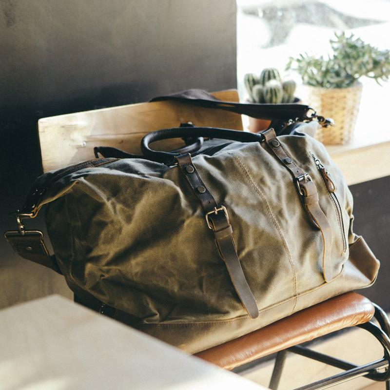 Waxed Canvas Leather Weekender Bag Waterproof Travel Duffels