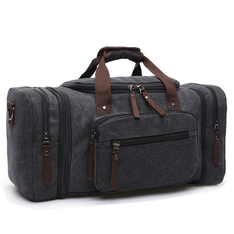 Woosir Waxed Canvas Leather Weekender Bag Waterproof Travel Duffels