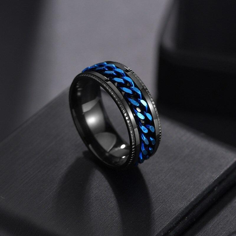 Men's Multiple Black Diamonds Gold Plated Titanium Wedding Ring