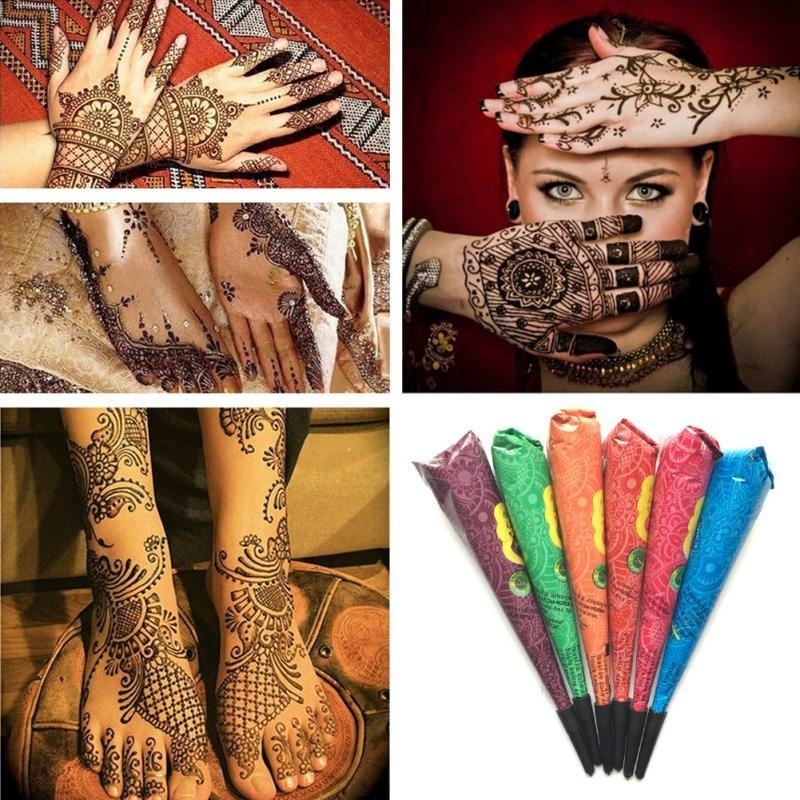 Henna Temporary Art Tattoos Kit, 4 Conical Painting Tattoo & 20 Packs Tattoo Stencils. Waterproof, Safe & Easy To Use, Perfect for Beginners