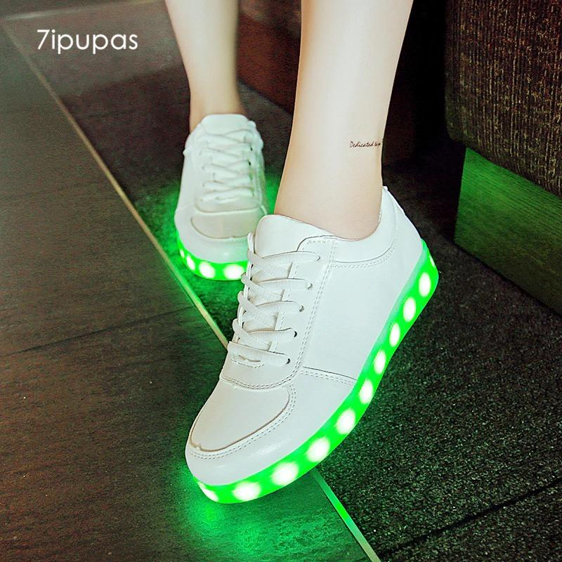LED Shoes Mens White Low Top Remote Light Shoes