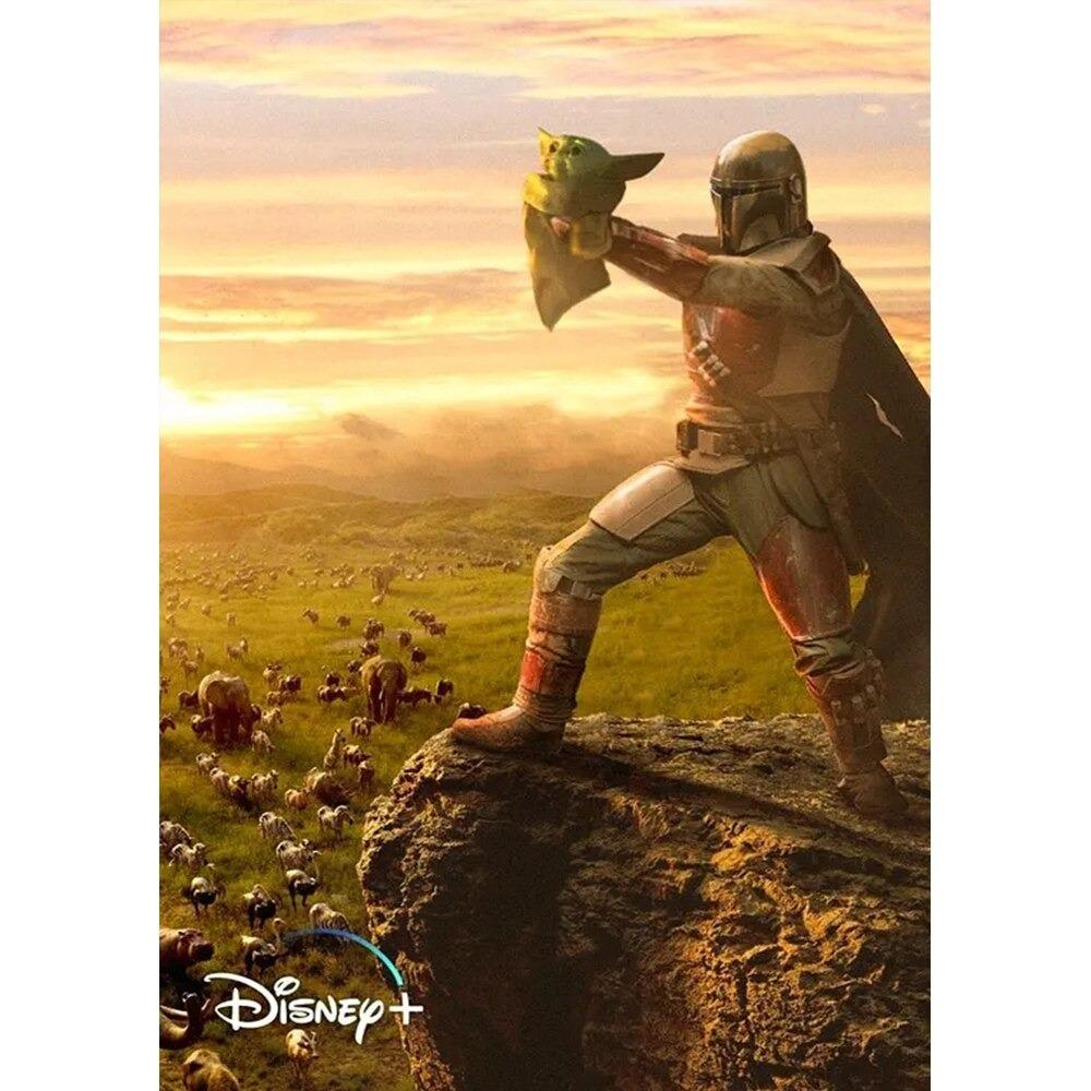 Baby Yoda & The Mandalorian Poster Star Wars The Child Film Poster Horizontal Wrapped Canvas