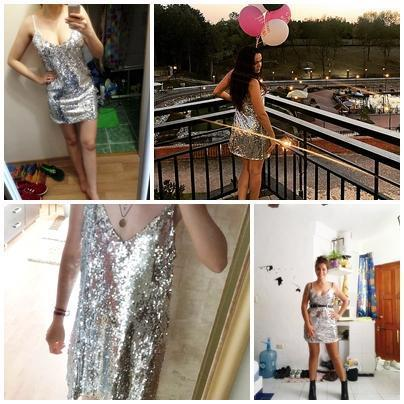 Deep V Neck Silver Sequin Backless Mini Dress - Balma Home