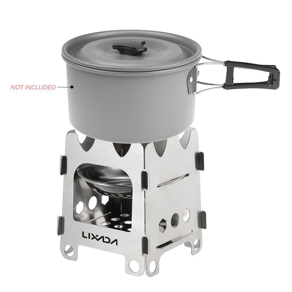 Pocket Rocket Stove Folding Wood Camping with Alcohol Tray Stainless Steel